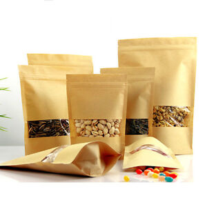 Details About Zip Lock Stand Up Pouch Kraft Paper Food Packaging Bags With Clear Window Brown