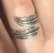 925 Sterling Silver Ring Angel Feather Handcrafted Adjustable Size - BRAND NEW