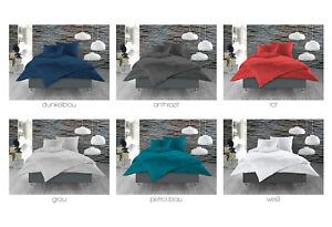 Damast Mako Satin 100 Baumwolle Bettwäsche Einfarbig Uni 135x200