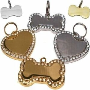 Engraved-Pet-Tags-Dog-Cat-ID-Diamontee-Bling-Bone-Heart-Shaped-FREE-Engraving