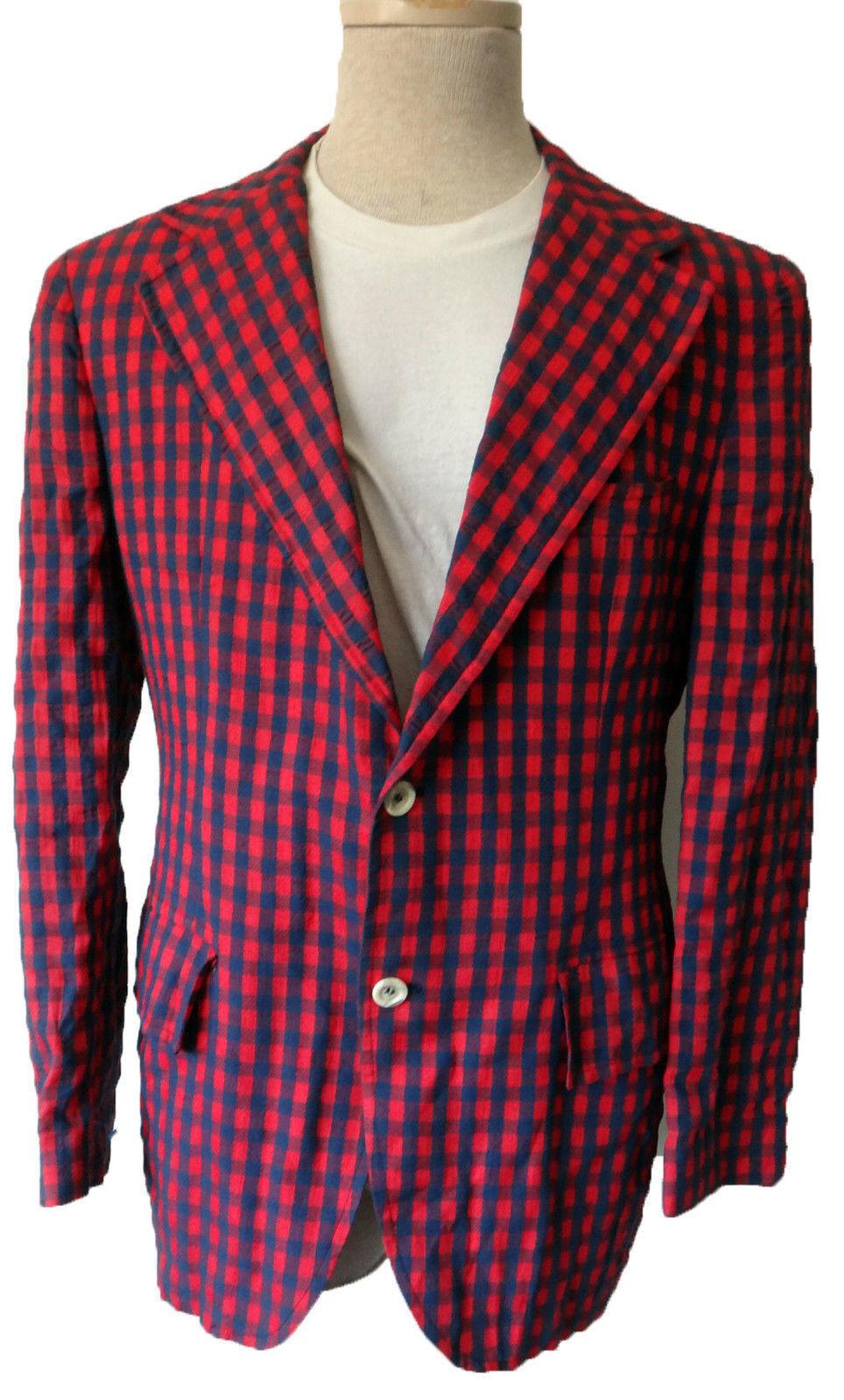 Vintage 60s 50s Seersucker checkerot rot plaid jacket lounge derby disco mad men