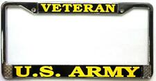 "U.S. Army Veteran License Plate Chrome Metal Frame  "" Made in the USA """