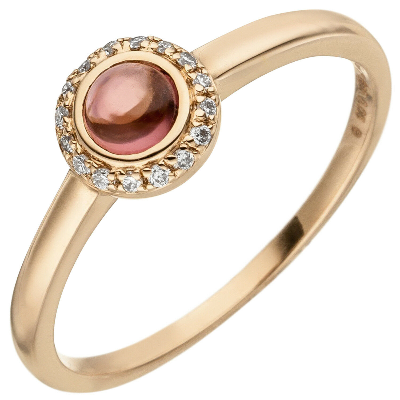 NUOVO Donna Anello Diamanti Diamanti Diamanti EDELSTEIN in puro 585er oro oro rosa 14 CARATI TAGLIA 52 946e9e
