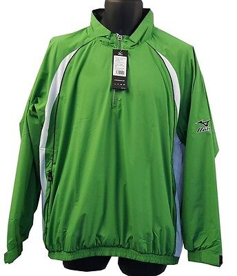 Rational Mens Mizuno Windlite 1/4 Zip Showertop 93wt820 Emerald/white Brand New A Plastic Case Is Compartmentalized For Safe Storage Men's Clothing