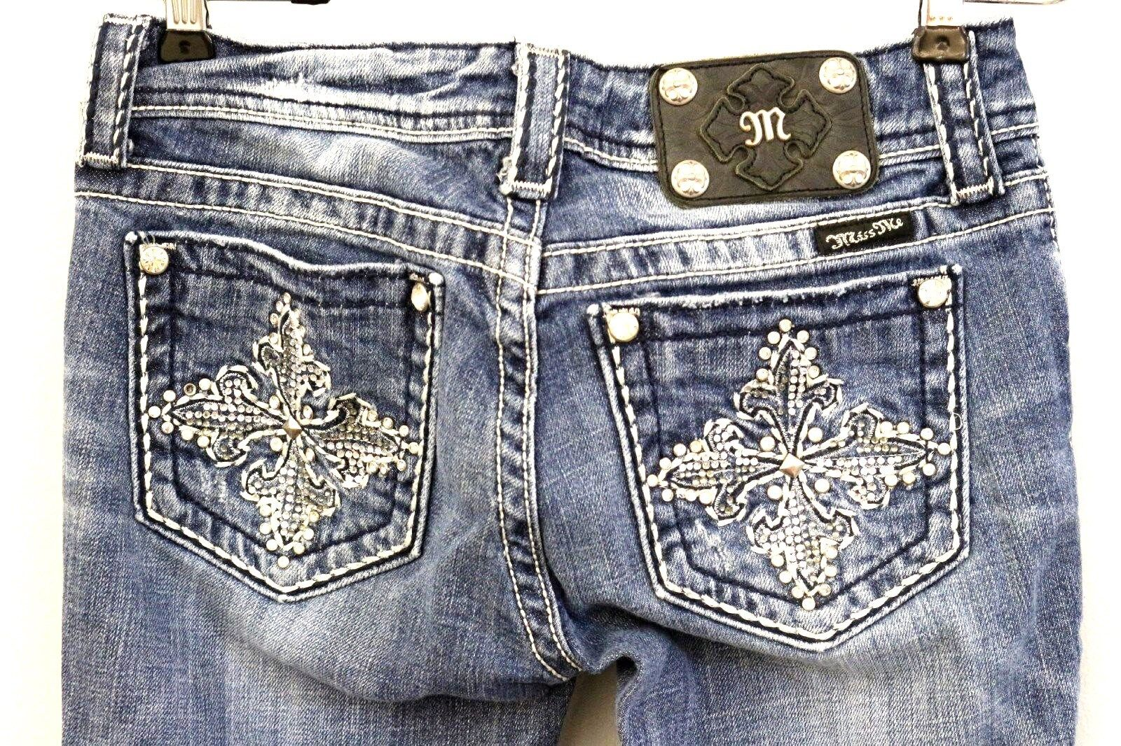 MISS ME Size 26 Womens Dark Washed Embroidered Floral Bling Boot Jeans JP534232