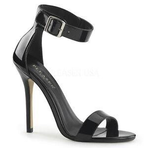 Pleaser-amuse-10-Noir-Verni-Bride-Cheville-Talon-Aiguille-Sandales-Chaussures