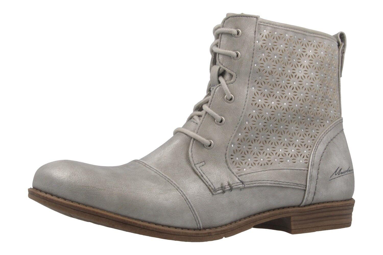 Mustang-señora con cordones-booty-plata metálica zapatos en talla extragrande