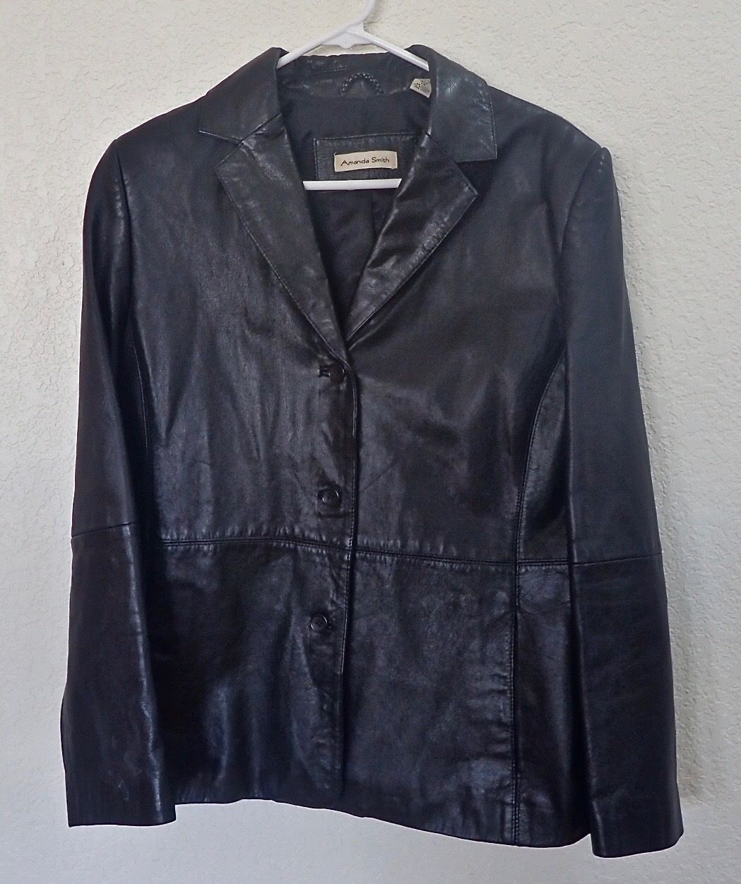 Amanda Smith Jacket Woman's Black Leather Size 14 KZ0497