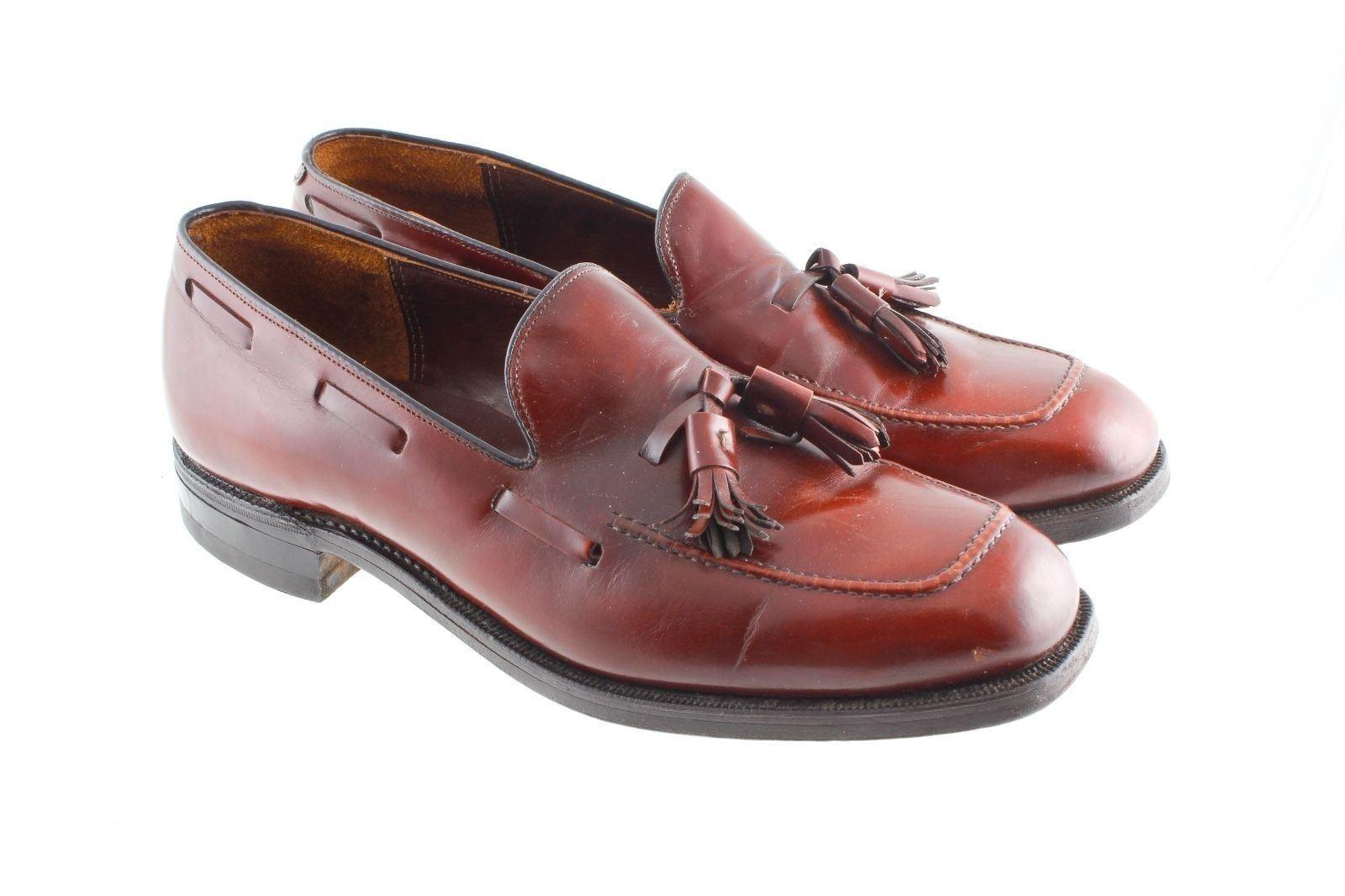 Johnston & & & Murphy braun Leather Tassel Loafers Größe 8 D Vintage 043704