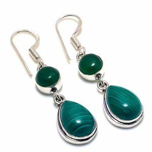 Malachite-Onyx-Gemstone-Handmade-Ethnic-Style-Jewelry-Earring-1-97-034-VJ-9116