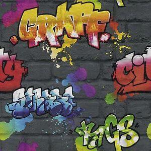 Negro-Grafiti-Papel-pintado-Rollos-Rasch-237801-Nuevo-Adolescente
