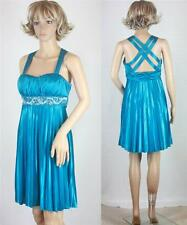 VTG 90s Mini Turquoise Aqua Sequin Empire Origami Backless Cocktail Party Dress
