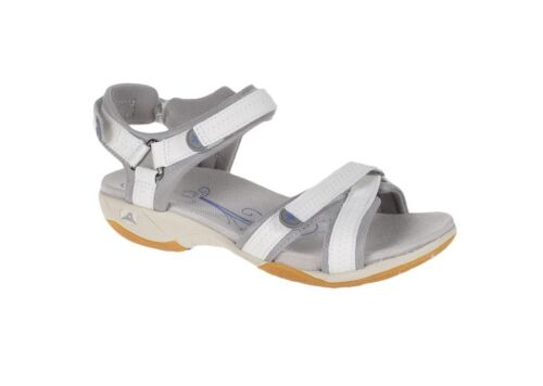 ladies CLARKS ISNA PEBBLE LEATHER WALKING SPORTS SANDALS WHITE GREY size 4 d new