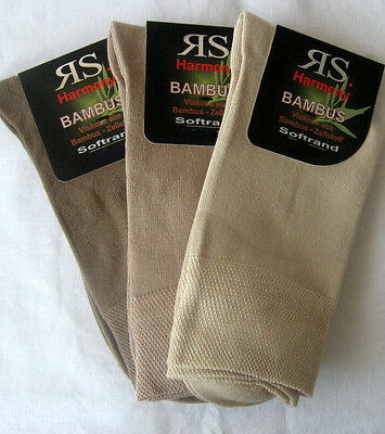 3 Paar Damen Sorbtek Bambus Socken ohne Gummi extra Softrand blau 35 bis 42