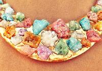 Rainbow Druzy Geode Piece Necklace Jewelry Orange Lavender Aqua Green Pink Gold