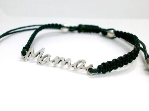 """Diseño de  Pulsera /""""  Para Mamá/"""" hilo negro y abalorios color plata"""