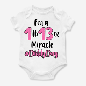 Personalised Premature Premmie Diddy Date Weight Baby Grow Bodysuit Newborn Gift