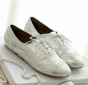 Women-leather-oxford-flats-strappy-shoes-Brogue-casual-Gold-silver-sneaker-vogue