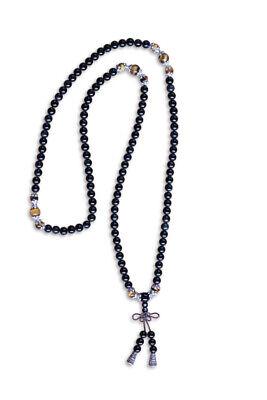 Freundschaftlich Mala Meditationskette 44cm Schwarze Achat Und Tigerauge Perlen - Asienlifestyle Waren Des TäGlichen Bedarfs