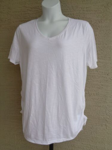 Just My Size Cotton Blend Shirred Sides V Neck Tee Shirt  Heather Fabric 2X