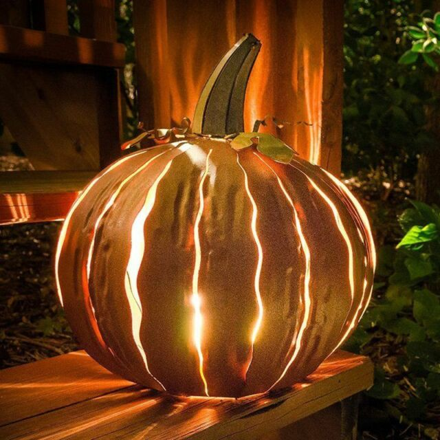 14 in. Decorated Pumpkin Lantern Light Up Yard Outdoor Fall Halloween Decoration