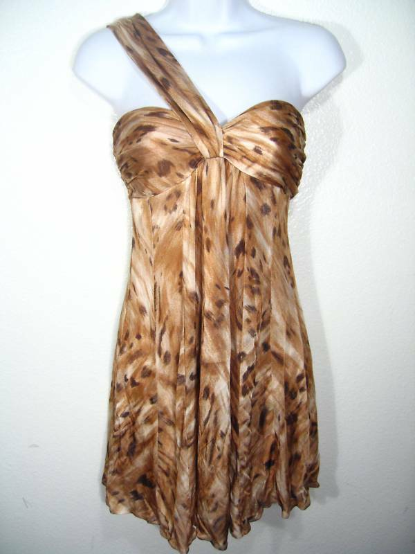 NWT BEBE SEXY ONE SHOULDER LEOPARD DRESS XS S M