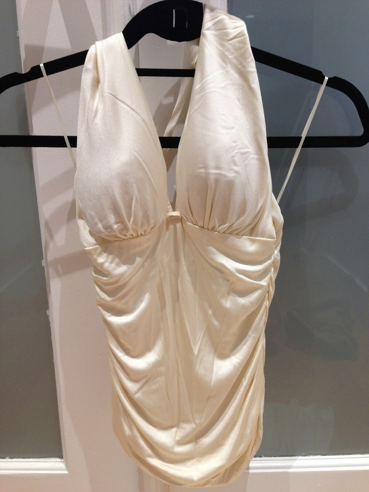 PREOWNED 2 PIECE SET, RENE RUIZ, TOP & SKIRT BEIGE SIZE 4, BARELY USED   AK
