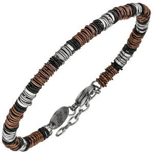 Armband Armkette Mit Ringen Aus Edelstahldraht Rot Schwarz Armschmuck, 19-22cm