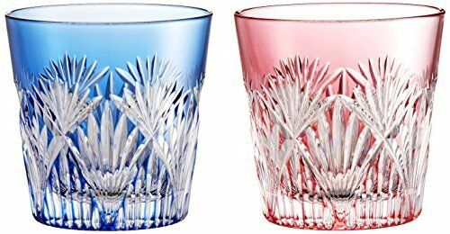 Kagami cristal paire froid Saké Cup Sasahha en Oblique Cross Crest Edo Kiriko