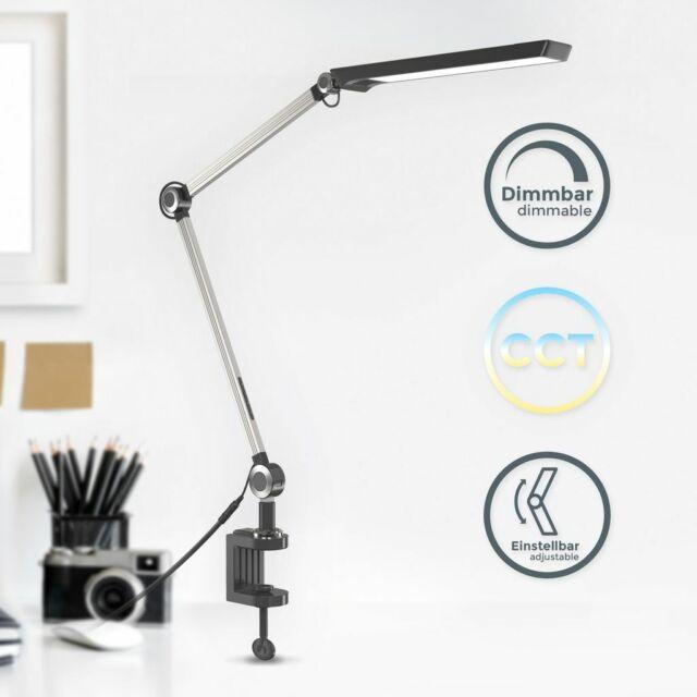 8W LED Schreibtischlampe Klemmleuchte Bürolampe Tischleuchte Leselampe Schwarz