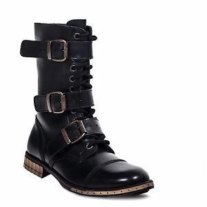 Boots & Braces Unisex Black Leather 4 Buckles Boots 12 Hole Combat Punk Rock