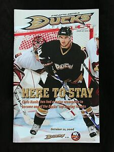 2006-07 Anaheim Ducks Digest Chris Kunitz Program. New York Islanders.