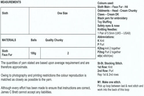 Fausse fourrure décontracté larry sloth teddy chunky knitting pattern james brett JB282