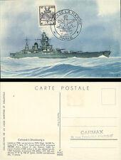 W2-FR734 : CM Ligue Maritime & Coloniale / Cuirassé Strasbourg - Libération 1945
