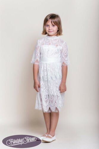 Lacy Lady White Lace Long Sleeve Girls Dress Princess Formal Party Wedding