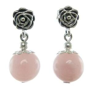 Boucles-D-039-oreilles-femme-Pendantes-rose-en-Argent-Tibetain-et-Perle-Pierre-Rose