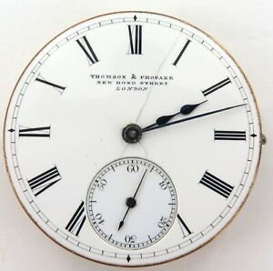 PRE-1888-SCARCE-THOMSON-amp-PROFAZE-LONDON-POCKET-WATCH-MOVEMENT-amp-DIAL