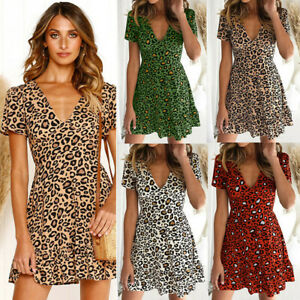 UK Womens Leopard Printed V Neck Mini Dress Long Sleeve Holiday Clubwear Clothes