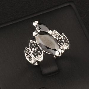 Unique Design Vintage Black Crystal Cocktail Rings Silver ...