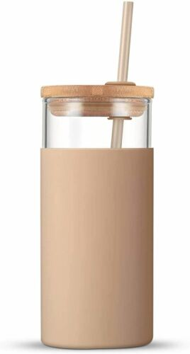 Tronco 20oz Glass Tumbler Glass Water Bottle Straw Silicone Protective Sleeve Ba