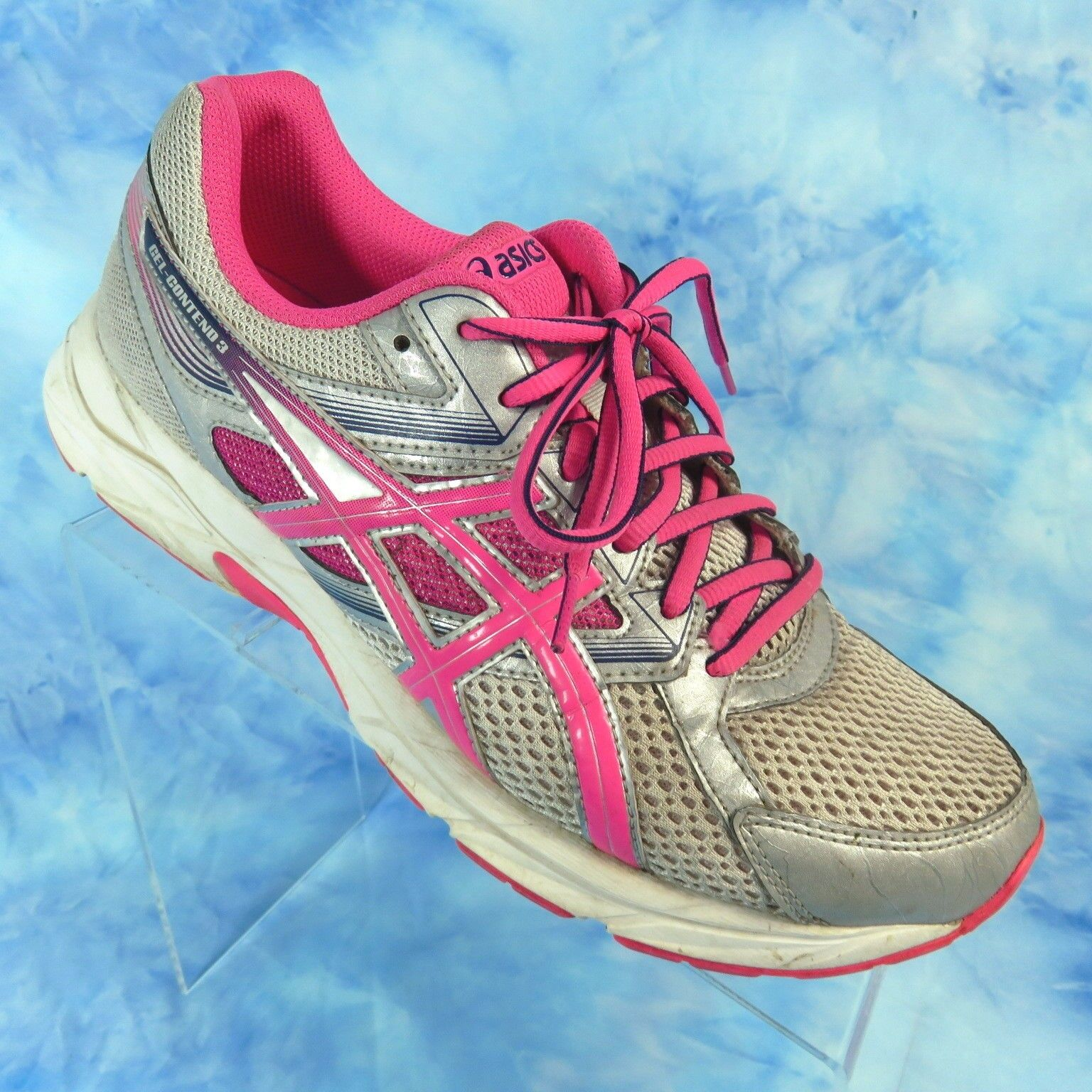 ASICS Gel Contend 3 Bright Pink Silver Running Athletic shoes Womens 9.5 EU 41.5