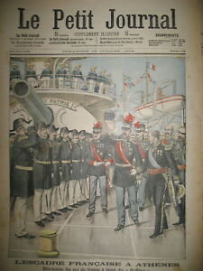 GRECE-ATHENES-PIREE-ROI-GEORGES-ESCADRE-FRANCAISE-SUFFREN-LE-PETIT-JOURNAL-1904
