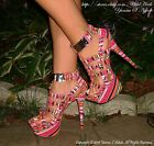 Pink Tribal Print Caged Strappy Studded Open Toe Stiletto Heel Platform Sandal