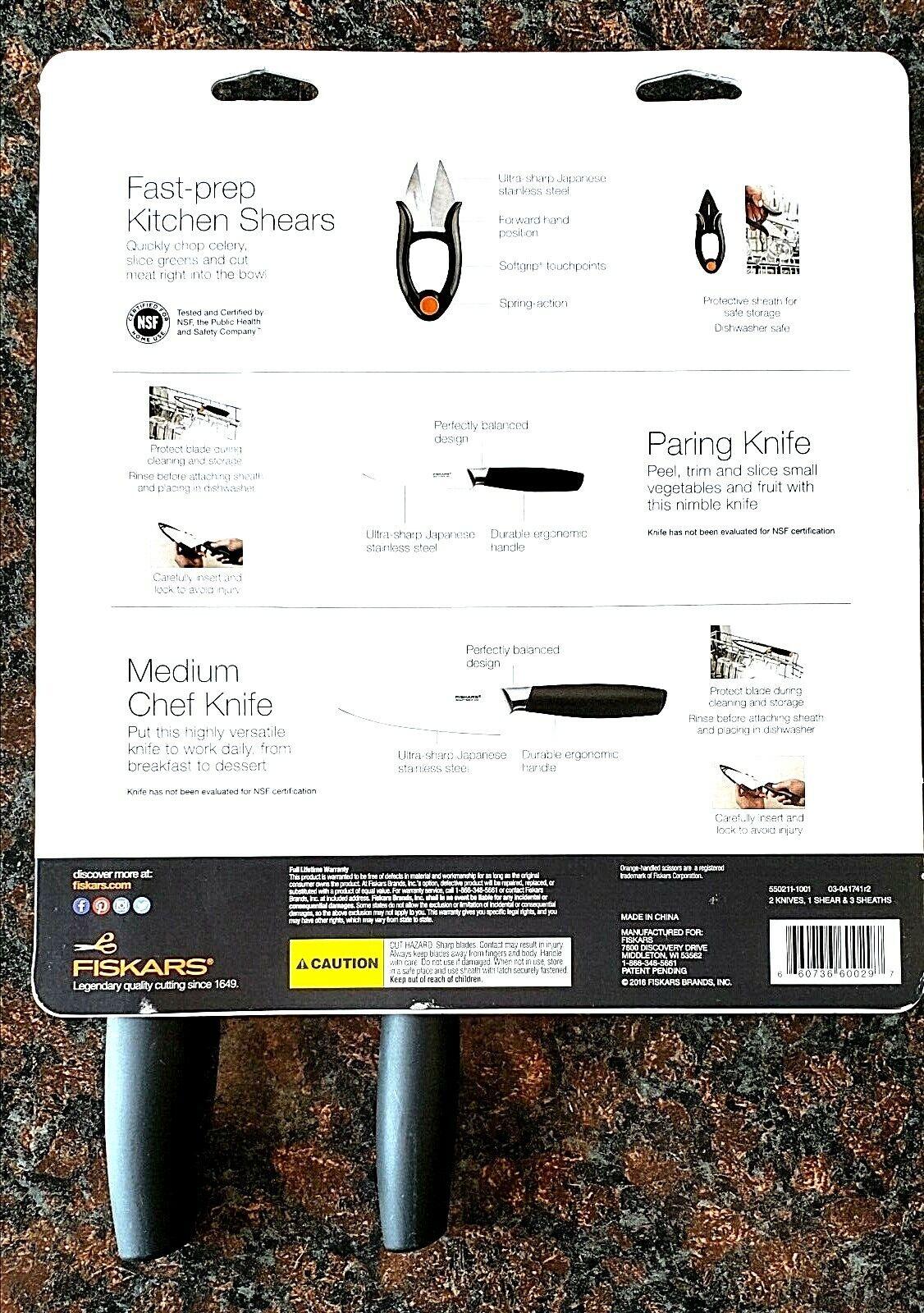 Fiskars Kitchen Essentials Knife Set 3pc For Sale Online Ebay