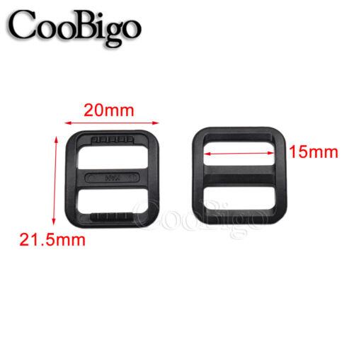 """Plastic Tri-glides Adjust Buckle Pets Collar Harness Backpack Strap Slider 5//8/"""""""