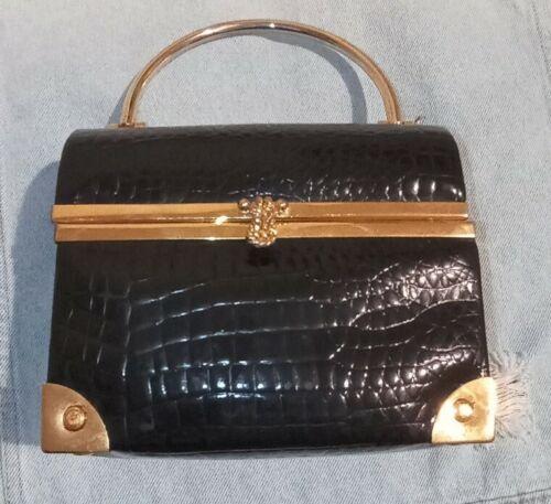 Sale Delightful evening LISETTE NY women/'s clutch real snake skin Black sparkling rhinestones Theater purse Women accessory Elegant Gift