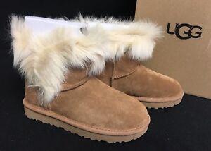 b3c62c09d3a Details about UGG Australia Milla Woman's Suede Toscana Sheepskin Trim  Boots 1018303 Chestnut