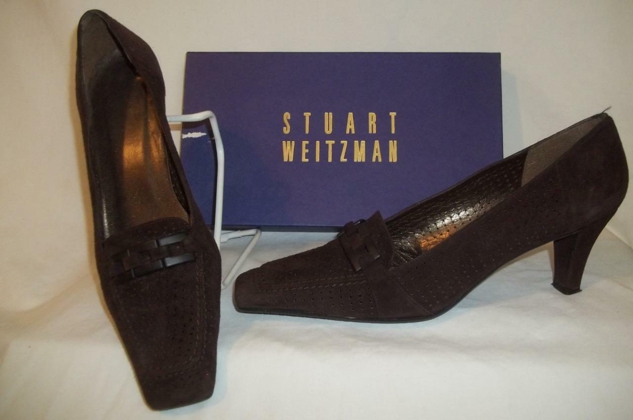 STUART WEITZMAN Brown Perforated Leather THRILLER Loafer Pumps shoes 9 M