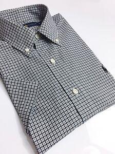Ralph-Lauren-Men-039-s-Shirt-Short-Sleeve-Black-White-Tattersall-Checks