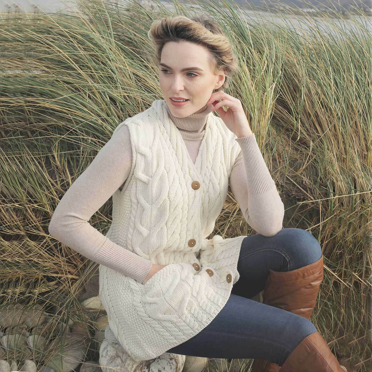 Women's Aran Wool Waistcoat 100% Irish Wool Wool Wool -Natural, Aran Wollen Mills B850-367 74a5fe